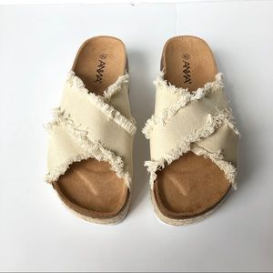 NWOB Anna Frayed Cream Canvas Cork Sandal